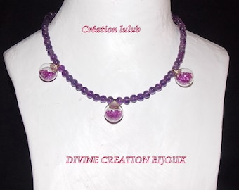 Purple set with glass charm with Rhinestones.