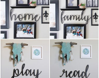 Wood Cursive Script Home/family/play/read Word Cut Out Home Decor