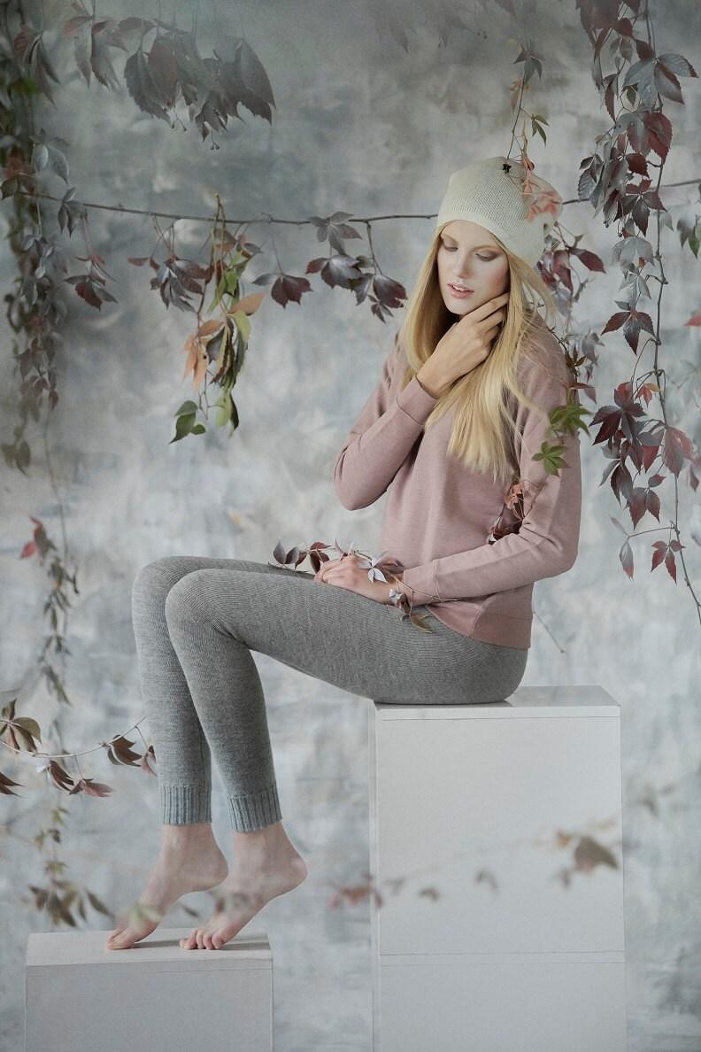 Well-liked Alpaca leggings for woman / adult knit pants / baby alpaca wool  HU07