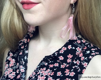 Pink earrings, dange earrings, drop earrings, light pink earrings, tape earrings, organza earrings, long earrings, organza tape earrings