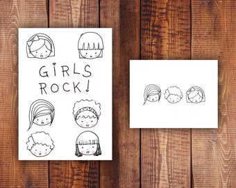 Cute Girl Drawings - Paper Printables - Girls Rock Printable Stationery Set - Printable Card, Pattern, Envelope and Stationery Paper