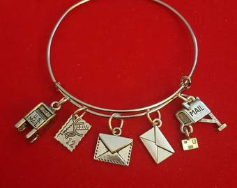 Silver Postal Themed Carrier Bangle Charm Bracelet Rural Mail Box Letters Collection GREAT GIFT Post Office