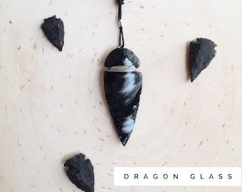 Dragon Glass Necklace | Obsidian