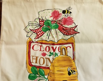 Canvas Tote, Bee, Bees, Honey, Clover, paint, hand painted