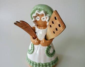 Utensil Holder | Vintage Gingerbread Rag Doll Utensil Holder, Utensil Caddy, Sittre Ceramic Burlap Rag Doll Utensil Holder, Kitchen Storage