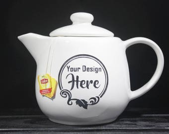 Customized Teapot - Custom - Infuser - Design Your Own - Ceramic - Etched - Tea Time - Gift Ideas - Custom - Personalized - Gifs for Her