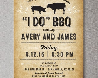 "Rustic ""I DO"" BBQ PRINTABLE Invitation"