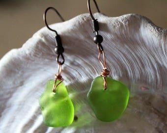 Lime Green Sea Glass Drop Earrings