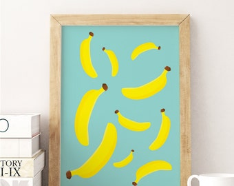 Banana Poster, Banana Print, Kitchen Poster, Food Art Print, Kitchen Wall Art, Nursery Art, Modern Kitchen, Wall Decor, Home Decor, 8x10.