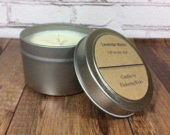 lavender martini scented soy candle, lavender soy candle tin, lavender martini candle, lavender candle