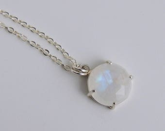 Sterling Silver Rainbow Moonstone Necklace 14mm Faceted Gemstone Pendant Cable Chain