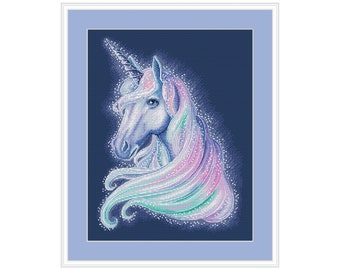 Watercolor unicorn cross stitch pattern, modern nursery baby counted cross stitch, instant download baby room decor