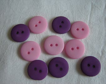 10 buttons purple & pink / / 18 mm