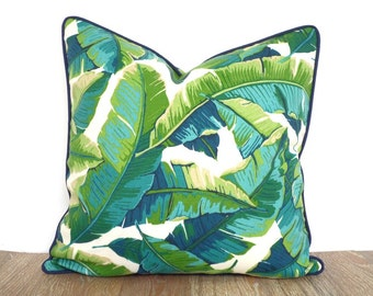 Tropical outdoor pillow case, green outdoor bench cushion, banana leaf pillow, green and turquoise pillow blue piping, palm tree decor