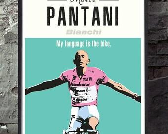 Marco pantani bianchi retro vintage cycling poster wall decor art print. Unframed