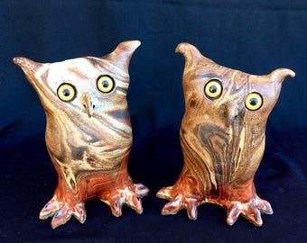 Whimsical Owl Statue Handmade Mixed Clay owl Ceramic Garden Art Wise Garden Animal Unique Lawn Sculpture Patio Art Nature Lover Gift
