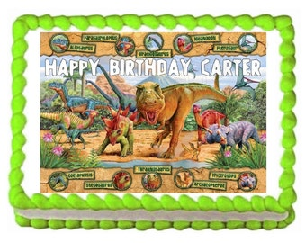 """Dinosaur Personalized Edible Image Cake Topper Birthday 7.5""""x10"""" Baking Supplies Jenuine Crafts"""