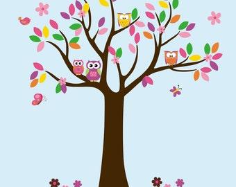 "Tree Wall Sticker - Tree Wall Decals - Forest Wall Decal - Colorful Wall Decals - Colorful Tree Decal - Large Tree Decal - 82"" x 68"""