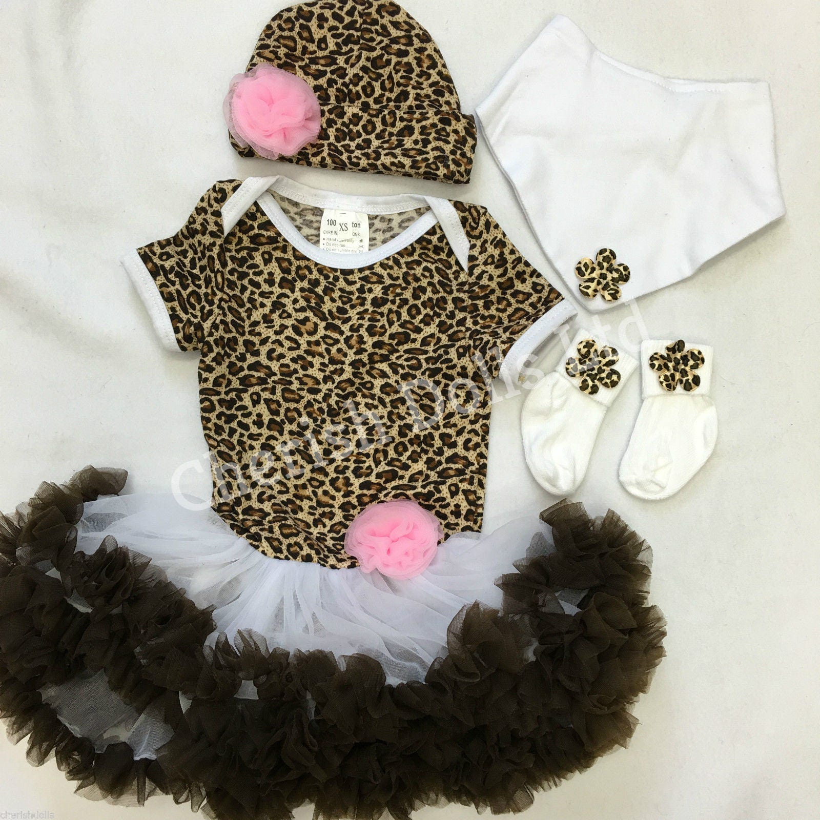 Reborn doll clothing leopard print tutu 22 hat bib socks