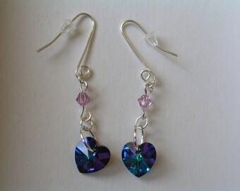 Blue Heart Swarovski Crystal Sterling Silver Earrings. Sterling silver earrings,  Heart earrings.