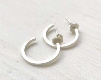 Small matte hoops with posts, sterling silver hoops, small silver hoops, stud hoop earrings, simple post hoops