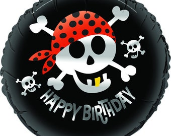 "18 Inch Ahoy Matey Pirate Theme ""Happy Birthday"" Foil Balloon! Fun Birthday Party Decoration - Matching Tableware In This Shop!"
