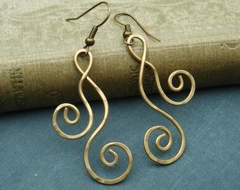Brass Swirl Dangle Earrings, Dancing Double Curl Spirals Long Earrings, Boho Gift for Her Metal Wire Jewelry, Women, Brass Earrings