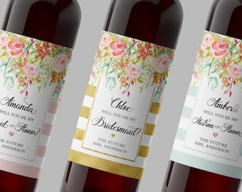 Will You Be My Bridesmaid, CUSTOM Floral Wedding Wine Labels, Maid of Honor, Matron of Honor Labels, ASK Bridesmaid, WEATHERPROOF, Favors