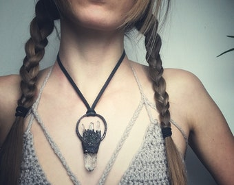 the healing - electroformed copper quartz & fluorite necklace