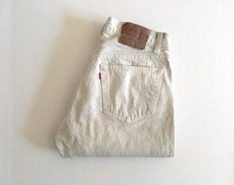 Vintage Men's 80's Levi's 501, White, Dirty Jeans, Red Tab, Short, Denim (W31)