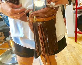 Repurposed Brown Leather Fanny Pack with Brown Leather Fringe
