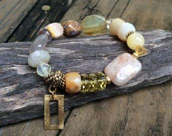 Ocean Jasper Yellow Gemstone Bracelet, Lemon Yellow Bracelet, Chunky Yellow Gemstones, Yellow Agate, November Birthstone