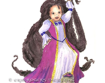 African American Rapunzel with Twists  PINK gown modern fairy tales 8x10 Print