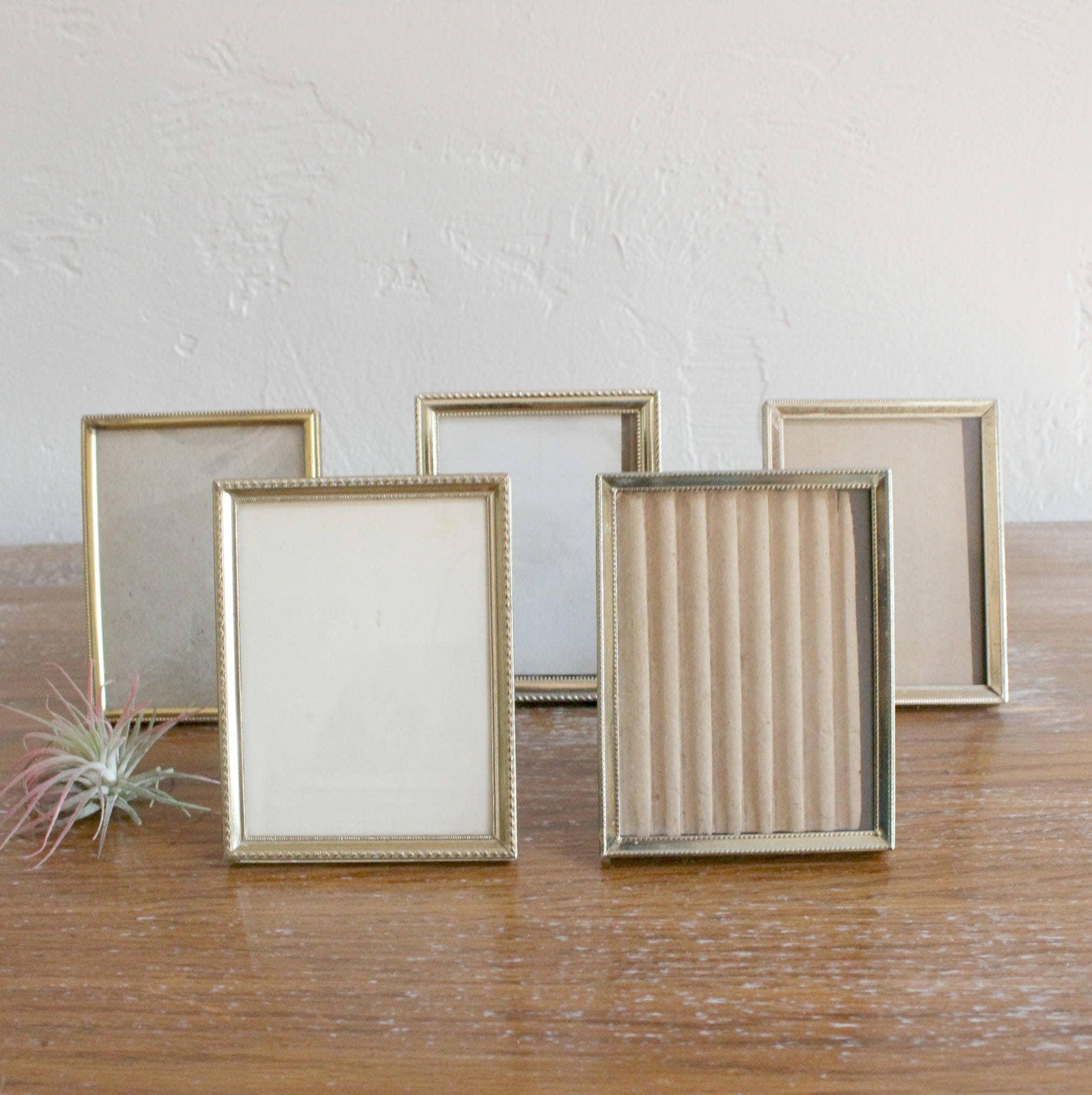 5 Vintage Gold Frames, Set of 3x4 Frames, Wedding Table Decor, Brass ...
