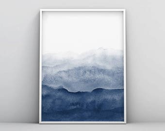 Watercolor Print, Indigo Wall Art, Watercolour Printable, Abstract Painting, Modern Minimalist, Navy Blue Decor, Dark Blue, Large Wall Art