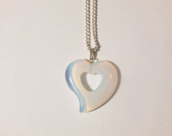 Opalite Heart Necklace, Opalite Crystal Necklace, Opalite Necklace, Heart Necklace, Opalite Pendant, Heart Pendant, Opalite, Crystal Pendant