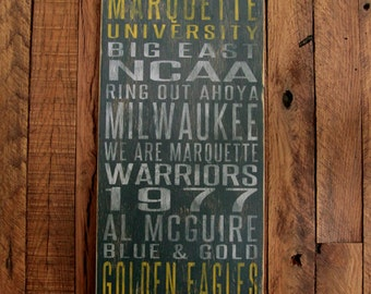 Marquette University Golden Eagles Distressed Wood Sign-Great Father's Day Gift!