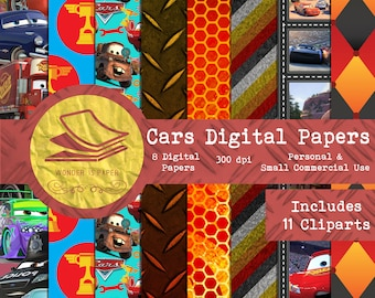 Cars Digital Papers - 8 Designs 12x12in, 30x30 cm - Ready to Print - High Quality