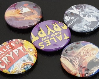 "5 Tales From The Crypt 1"" Buttons/Pinbacks/Badges Set Crypt Keeper HBO Rare Horror Anthology Television Classic Cult Bordello"