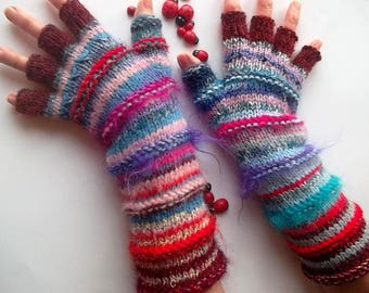 Women Size L 20% OFF Long Half Fingers Mittens Cabled Multicolor Gloves Hand Knitted Gift Warm Ready To Ship Striped Wrist Warmers Winter 70