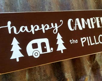 Personalized HAPPY CAMPER sIgn, RV Name Sign. Glamping. Happy Camper. Travel Trailer.