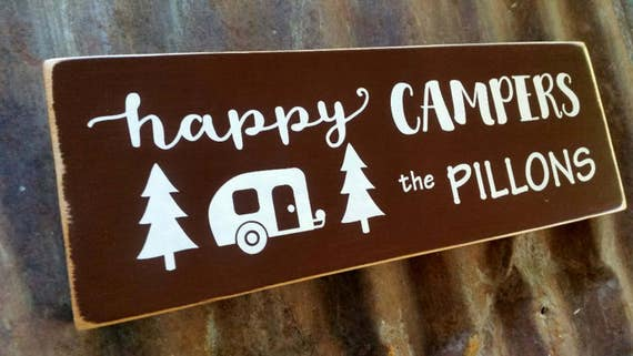 Personalized HAPPY CAMPER SIgn RV Name Sign Glamping Happy