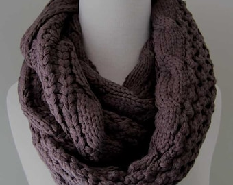 Taupe Knitted Infinity Acrylic Scarf - Dark Grey Infinity Knitted Scarf, gift for her, Holiday accessories