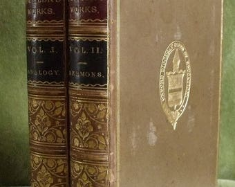 Antique Victorian Culham Oxford Prize Leather Books Works Of Bishop Butler 1874 (8074)