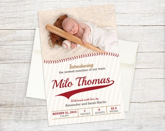 Baseball Baby Photo Birth Announcement - Custom Little Slugger, Rookie of the Year, All-Star Sports Personalized Printable Design