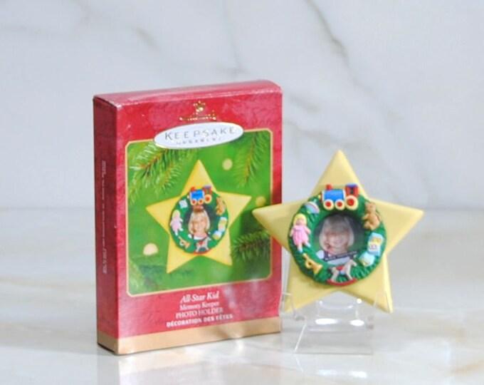 Vintage Ornament, Hallmark All Star Kid, 2001, Photo Ornament, Childs Photograph, Christmas Ornament, Tree Ornament, Christmas Decoration