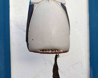 Blue and White Owl / Pacific Stoneware / Ceramic Wind Chime / 1970's