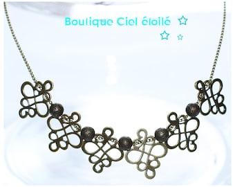 Mid-length bronze necklace arabesque