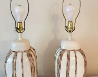 Faux bamboo lamps pair Hollywood Regency Palm Beach Chic at Florida classics