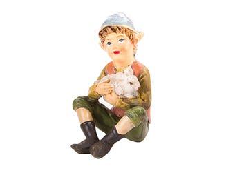 "Pixie Boy with Rabbit, 2.5"" x 1.75"" - Resin - Garden Dollhouse Miniature"